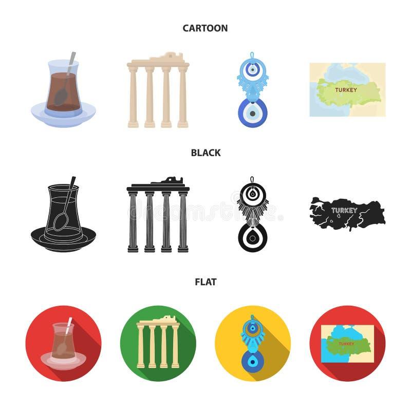 Thé turc, amulette, ruines de l'antiquité, carte du territoire Icônes réglées de collection de la Turquie dans la bande dessinée, illustration de vecteur
