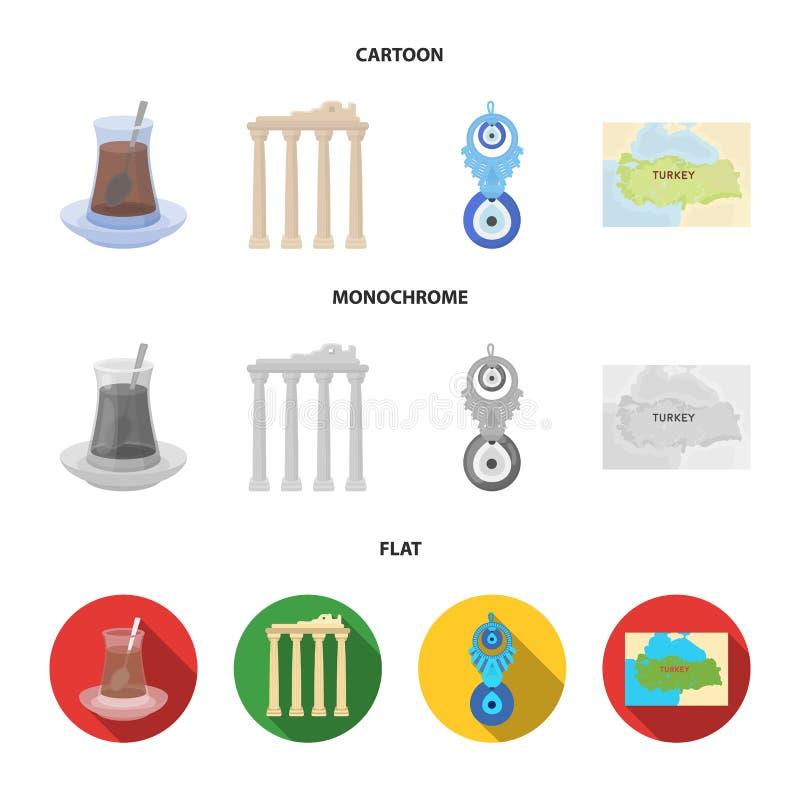 Thé turc, amulette, ruines de l'antiquité, carte du territoire Icônes réglées de collection de la Turquie dans la bande dessinée, illustration libre de droits