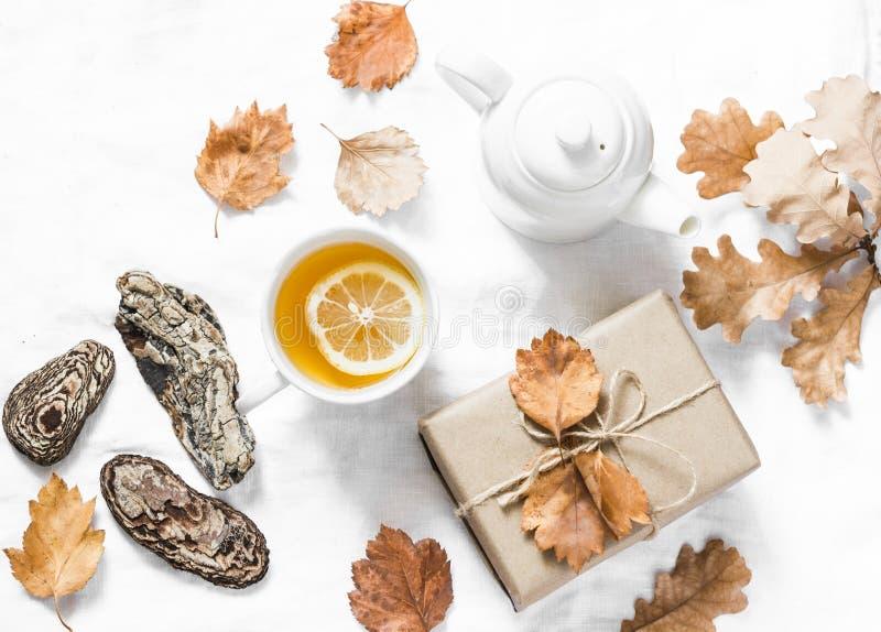 Thé vert de citron, cadeau fait maison, humeur d'automne sur un fond clair, vue supérieure D'automne de maison toujours la vie co photo stock