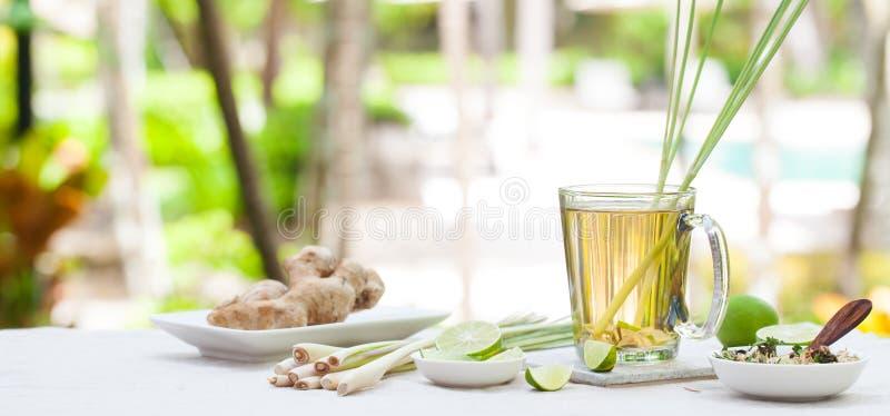 Thé vert de fines herbes avec le schénanthe et le gingembre image stock