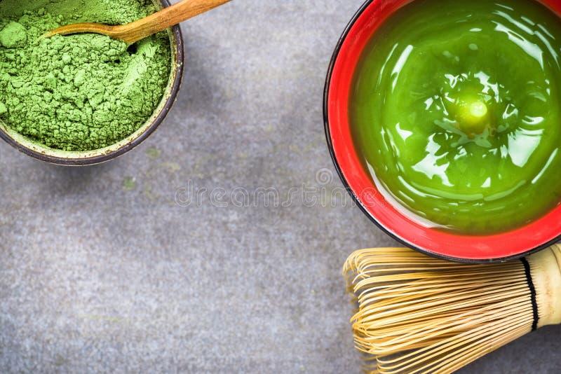 Thé vert de Matcha, cérémonie de préparation photographie stock