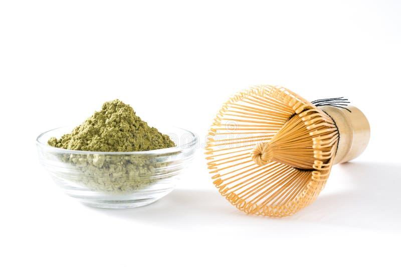 Thé vert de Matcha dans la cuvette image libre de droits