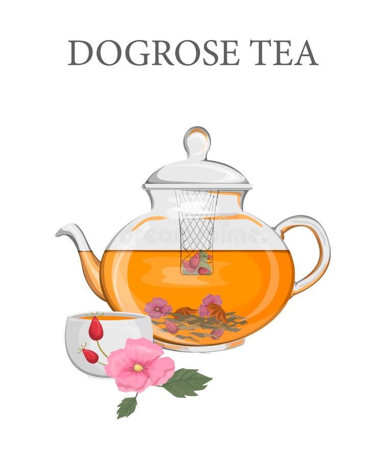 Théière avec un thé rose de chien de fines herbes illustration libre de droits