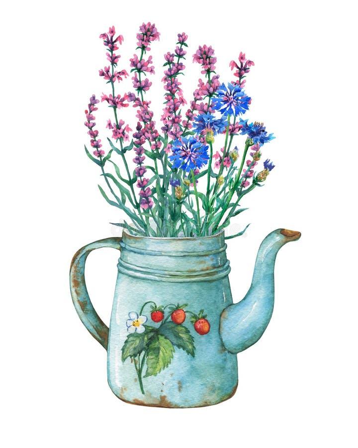 Théière bleue en métal de vintage avec le modèle de fraises et le bouquet des fleurs sauvages illustration de vecteur