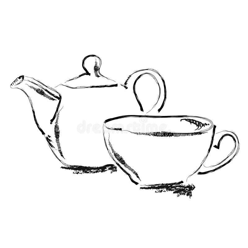 Théière de croquis d'aspiration de main et tasse de thé illustration de vecteur