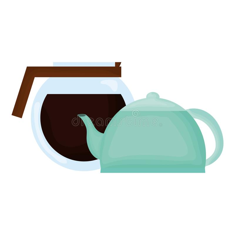 Théière de cuisine et fabricant de café illustration stock