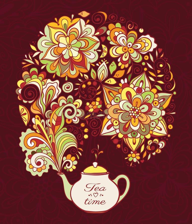 Théière de griffonnage avec de la fumée florale colorée illustration stock