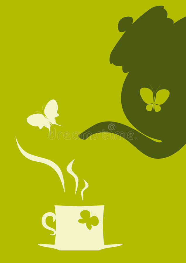 Théière et cuvette de thé illustration de vecteur