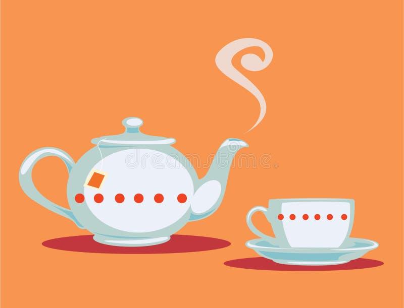 Théière et tasse de thé illustration stock