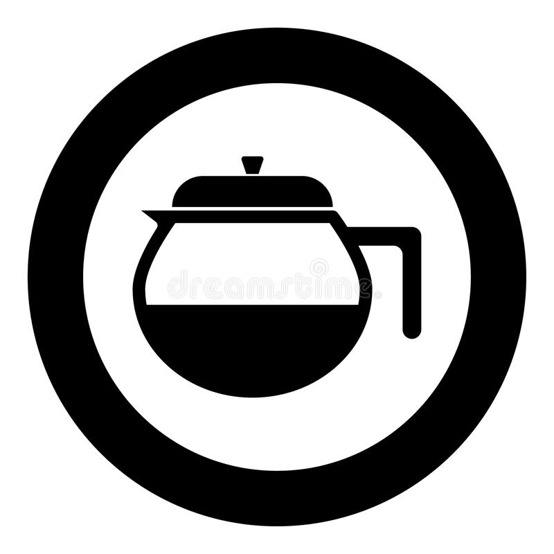Théière l'icône noire de couleur en cercle ou rond illustration libre de droits