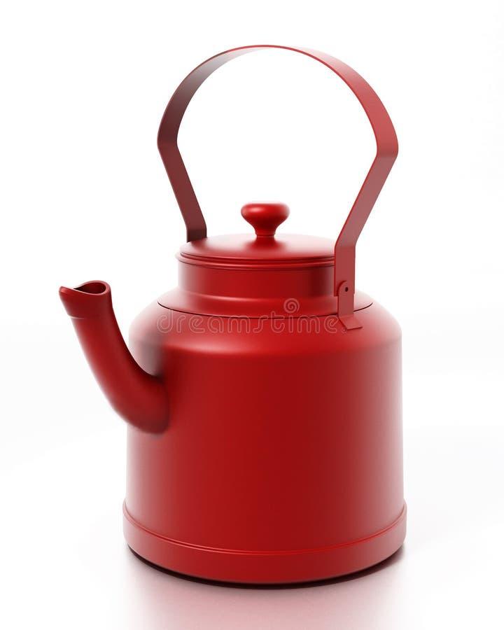 Théière rouge de vintage d'isolement sur le fond blanc illustration 3D illustration stock
