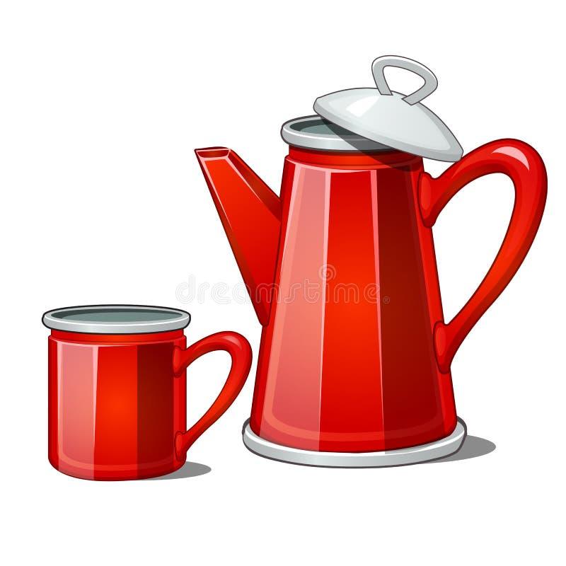 Théière rouge et tasse d'émail d'isolement sur le fond blanc Illustration de plan rapproché de bande dessinée de vecteur illustration de vecteur