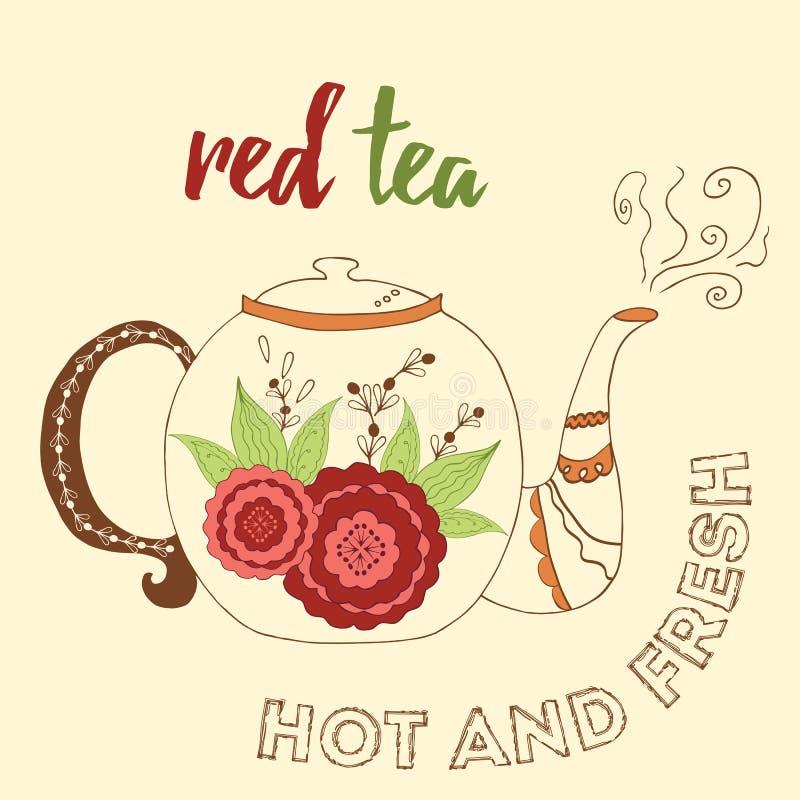 Théière tirée par la main avec le thé de rouge de ketmie illustration de vecteur