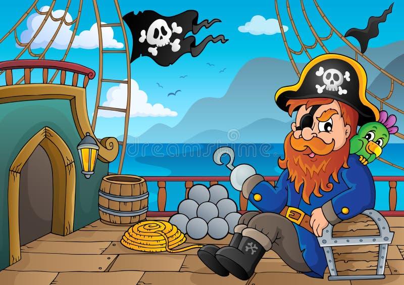 Thématique 1 de plate-forme de bateau de pirate illustration de vecteur