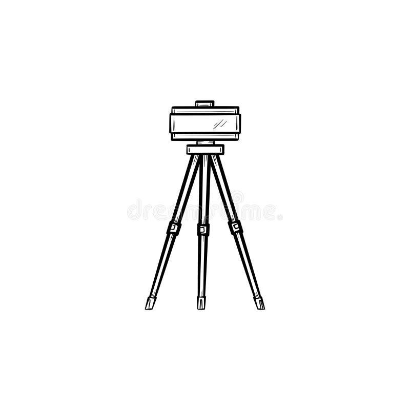 Théodolite sur l'icône tirée par la main de croquis de trépied illustration stock