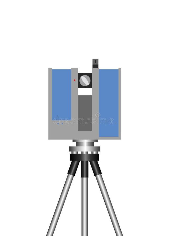 Théodolite, Topcon, laser balayant 3D, de grande précision avec la technologie précise de balayage, long terme illustration de vecteur