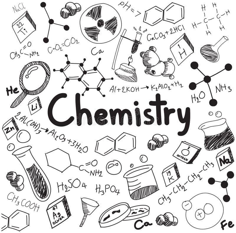 Théorie de la science de chimie et équation de formule de liaison, griffonnage ha illustration stock