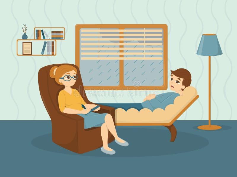 Thérapie au psychologue illustration stock