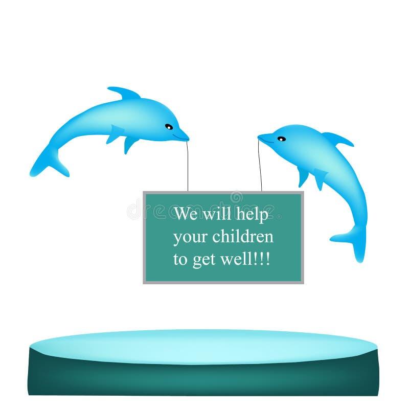 Thérapie de dauphin Baner Illustration de vecteur d'isolement sur le fond blanc illustration de vecteur