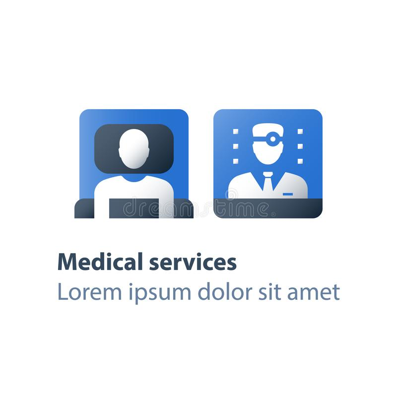 Thérapie stationnaire, services d'hospice, assistance d'hospitalisé, maladie de palliation, soins médicaux, salle d'hôpital, cent illustration libre de droits