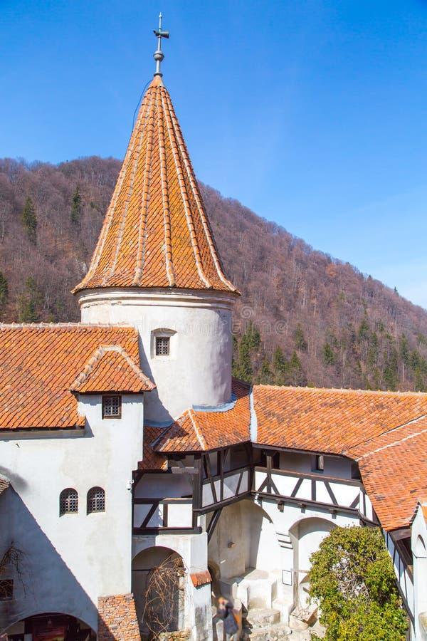 Th看法在一部分的麸皮城堡里面,罗马尼亚 库存照片