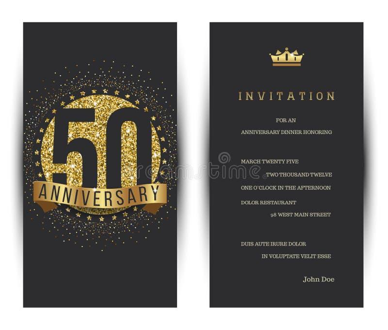 50th årsdag dekorerad mall för hälsningkort stock illustrationer