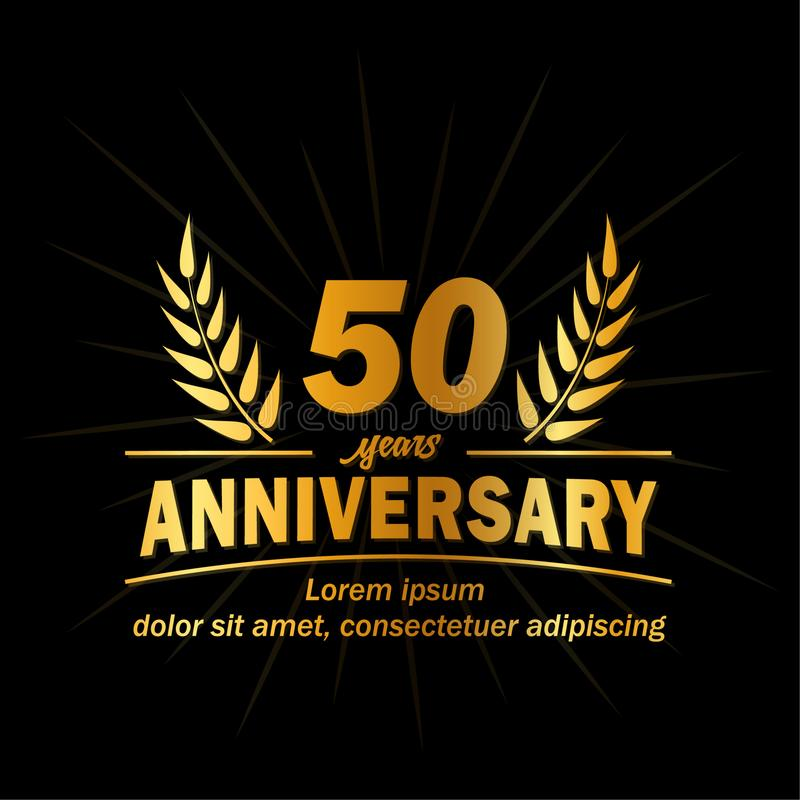 50th årsdagdesignmall 50th årsvektor och illustration stock illustrationer