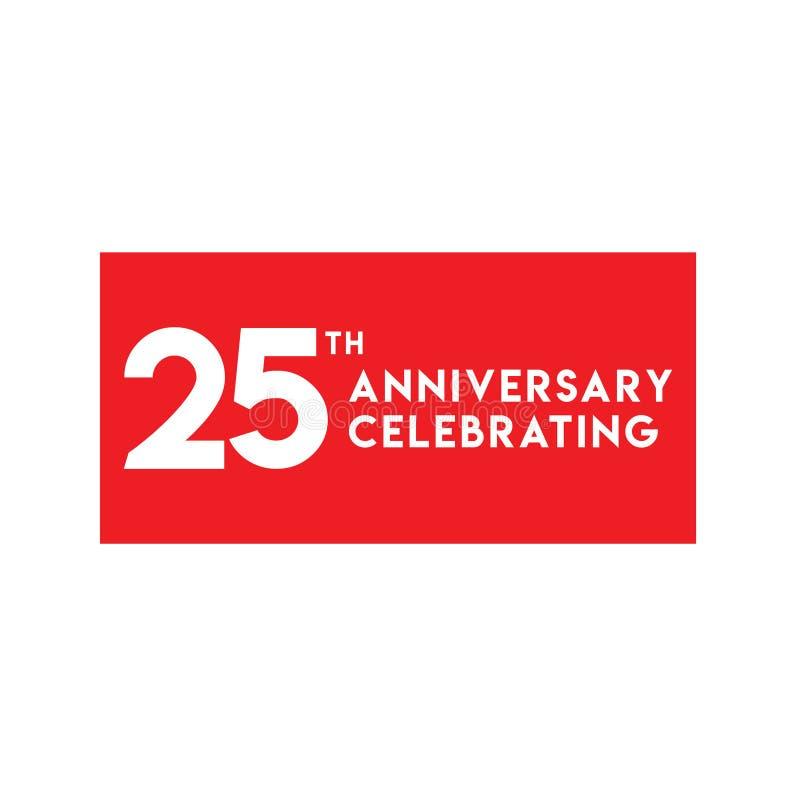 25th годовщина празднуя иллюстрацию дизайна шаблона вектора иллюстрация вектора