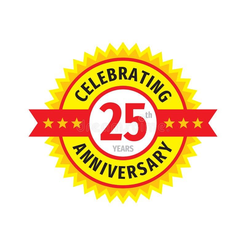 25th дизайн логотипа значка дня рождения Двадцать пять годовщины лет эмблемы знамени Абстрактный геометрический плакат иллюстрация вектора