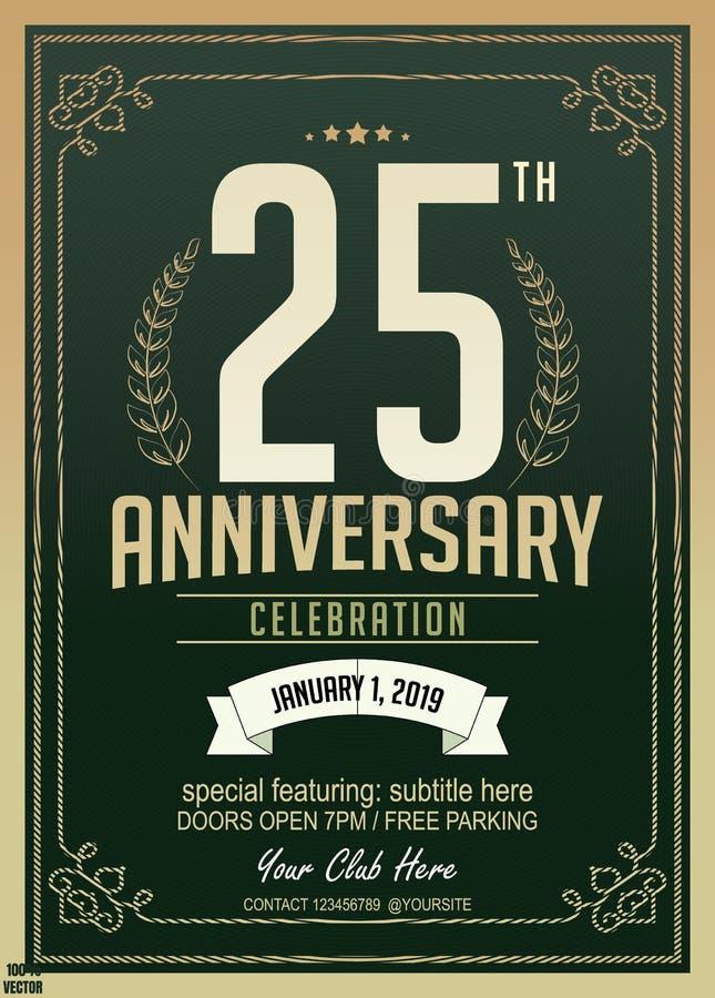 25th дизайн торжества годовщины лет на зеленом цвете иллюстрация штока
