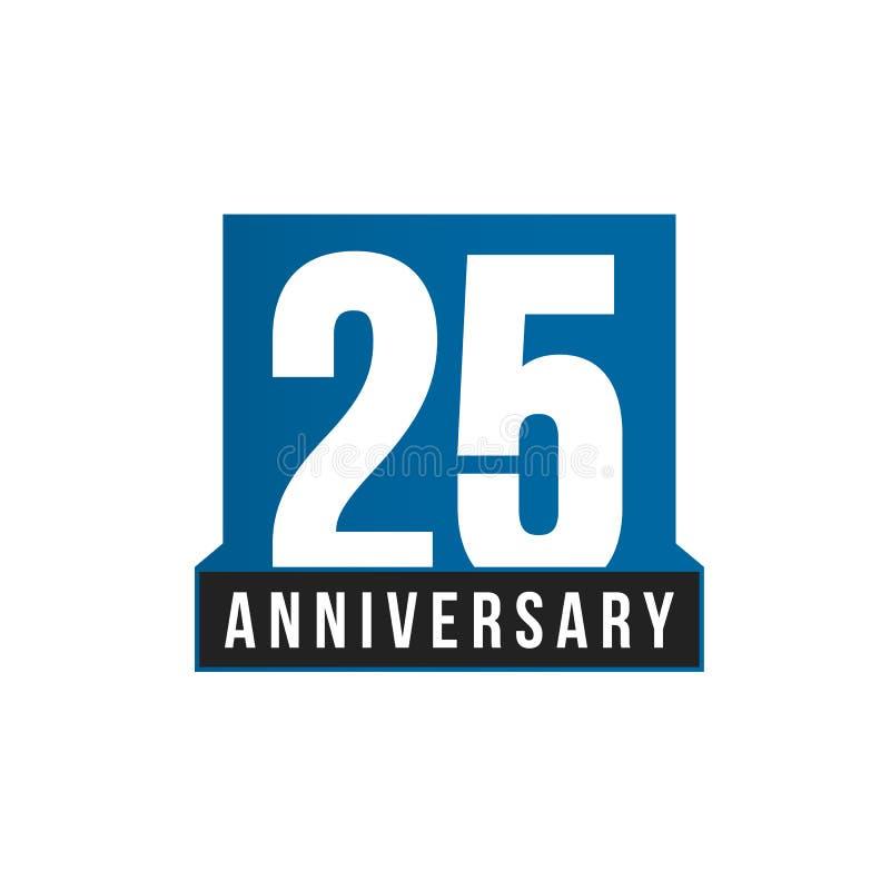 25th значок вектора годовщины Шаблон логотипа дня рождения Элемент дизайна поздравительной открытки Простая эмблема годовщины дел бесплатная иллюстрация