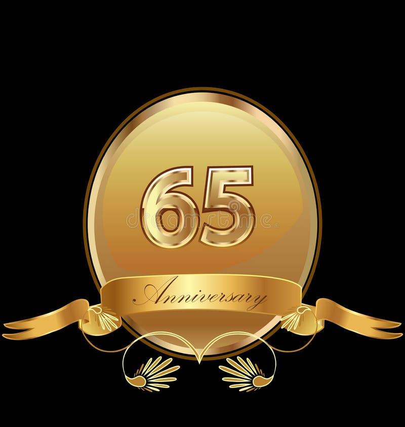65th золотой вектор значка уплотнения дня рождения годовщины бесплатная иллюстрация