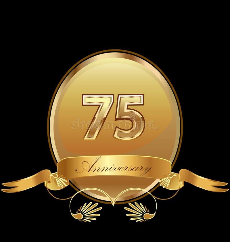 75th золотой вектор значка уплотнения дня рождения годовщины иллюстрация штока