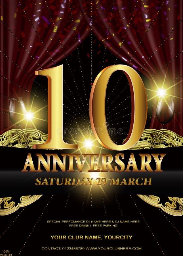 10th золотой логотип годовщины иллюстрация вектора