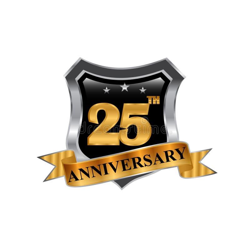 25th логотип значка годовщины лет конструируйте график элемента бесплатная иллюстрация