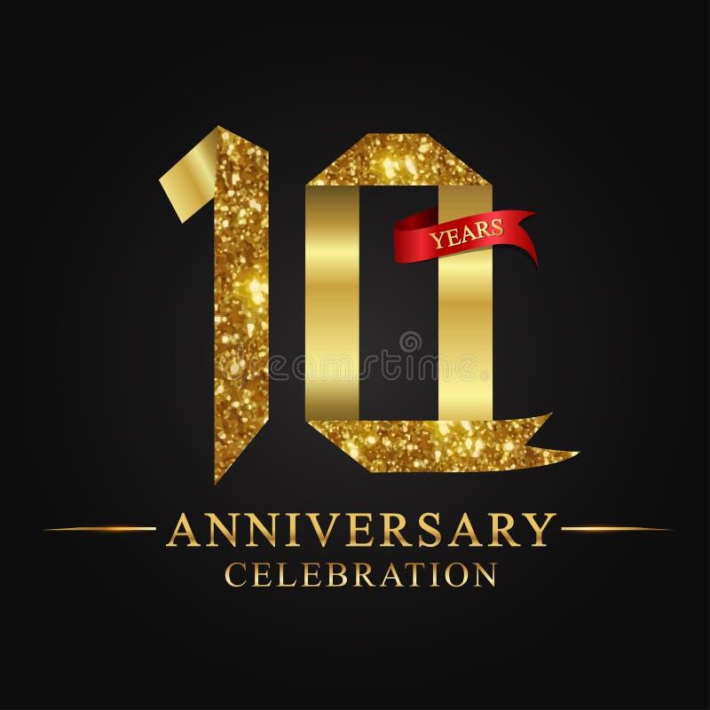 10th логотип торжества лет годовщины Золотое число ленты логотипа и красная лента на черной предпосылке стоковые изображения