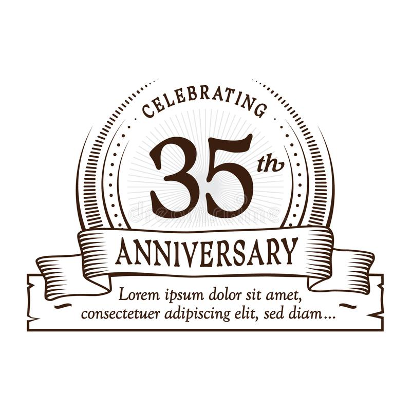 35th anniversary design template. 35 years logo. Thirty-five years vector and illustration. 35 years anniversary celebration design template. Thirty-five years royalty free illustration