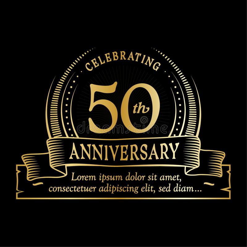 50th anniversary design template. 50 years logo. Fifty years vector and illustration. 50 years anniversary celebration design template. Fifty years logo. 50th stock illustration