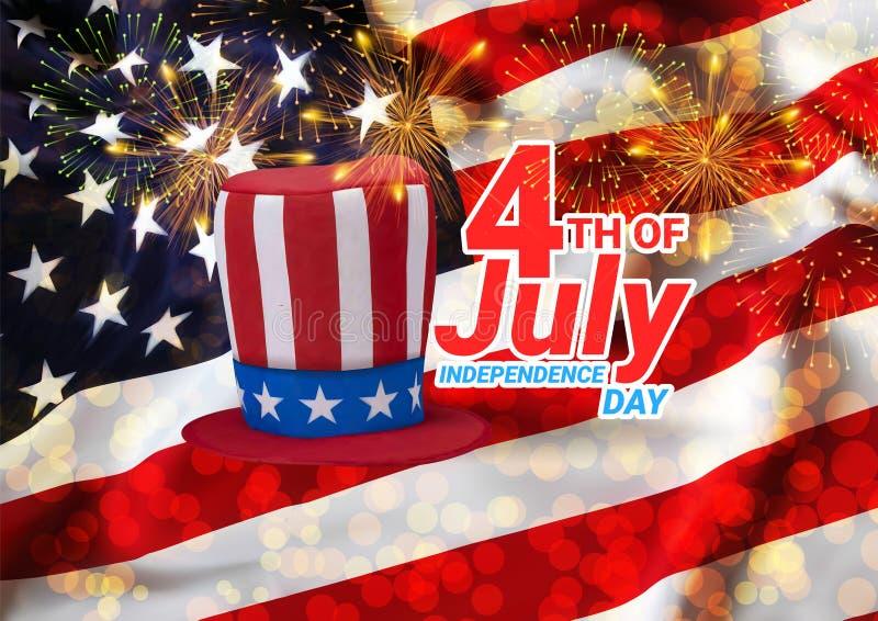 4th Amerika bakgrundsfyrverkerier flag juli tillst?nd f?renade USA Fira sj?lvst?ndighetsdagen Vektor Eps10 arkivbilder