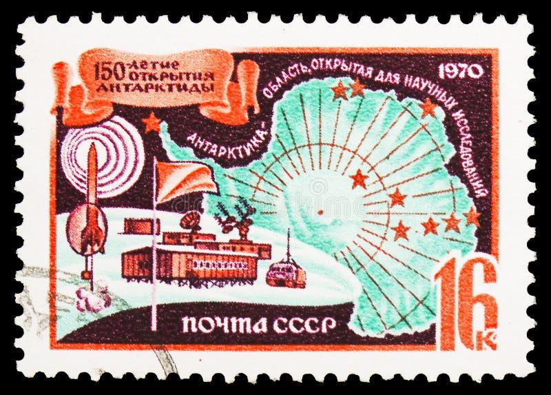 150th aniversário do serie antártico da expedição de Bellinsgauzen e de Lazarev, cerca de 1970 imagens de stock
