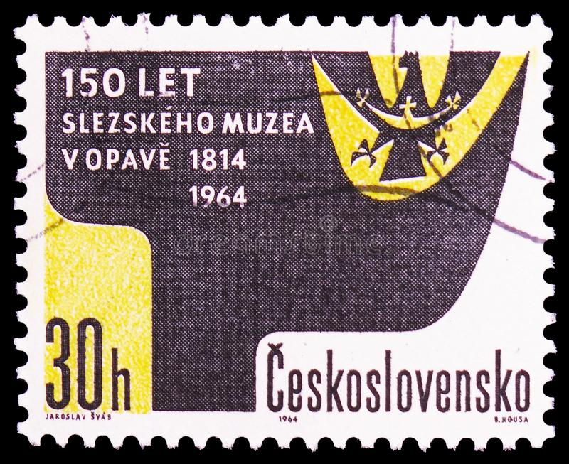 150th aniversary of Silesian museum, Opava, serie, circa 1964. MOSCOW, RUSSIA - FEBRUARY 21, 2019: A stamp printed in Czechoslovakia devoted to 150th aniversary royalty free stock photos