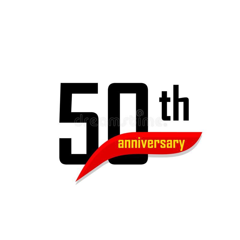 50th Anniversary abstract vector logo. Fifty Happy birthday day icon. Black numbers witth red boomerang shape with. Yellow text 50 years stock illustration