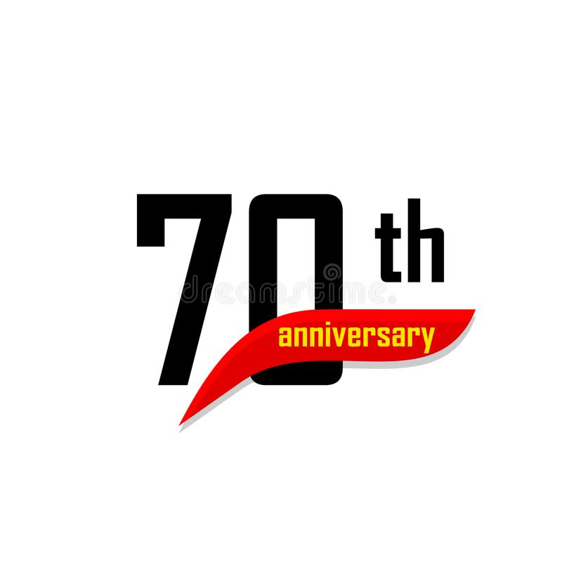 70th Anniversary abstract vector logo. Seventy Happy birthday day icon. Black numbers witth red boomerang shape with vector illustration