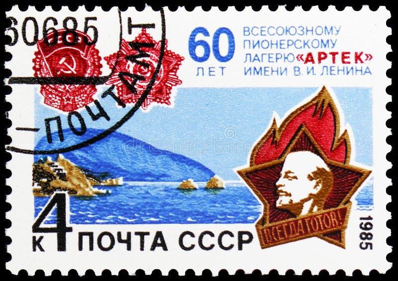 60th Anniversary of Artek Pioneer Camp, circa 1985 royalty free stock photos