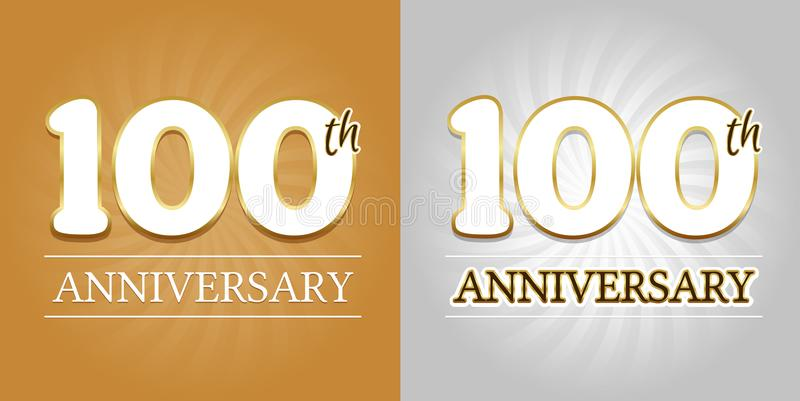 100th Anniversary Background - 100 years Celebration gold and Silver. vector illustration
