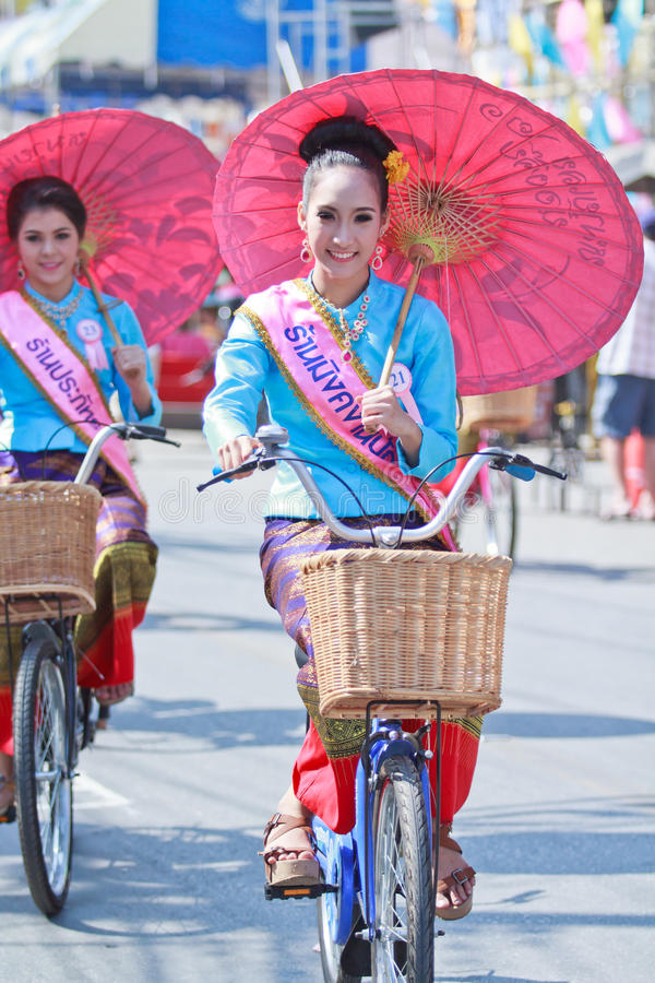 Download 30th Anniversary Bosang Umbrella Festival In Chiangmai Province Of Thailand Editorial Stock Image - Image of bicycle, craft: 35438364