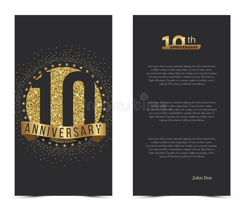 10th anniversary card with gold elements stock illustration 10th anniversary card with gold elements vector illustration m4hsunfo