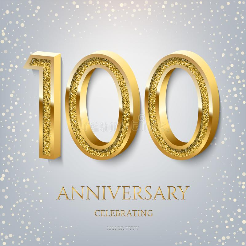 100th Anniversary Celebrating golden text and confetti on light blue background. Vector celebration 100 anniversary stock illustration