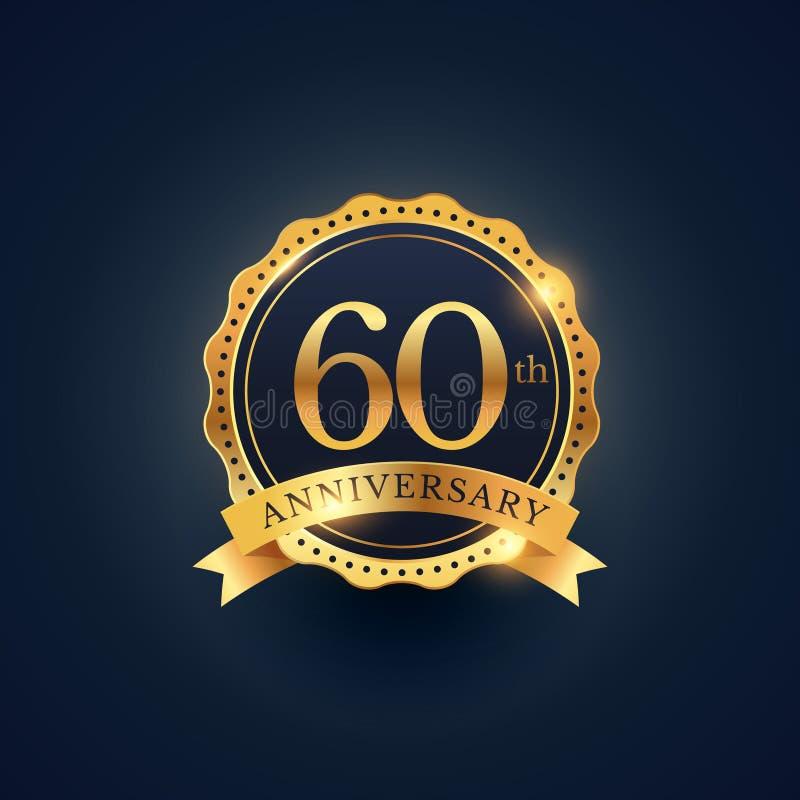 60th anniversary celebration badge label in golden color stock illustration