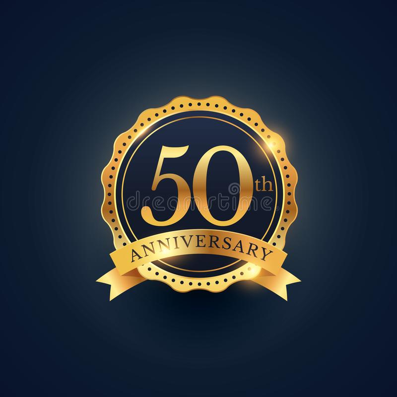 50th anniversary celebration badge label in golden color. Vector royalty free illustration